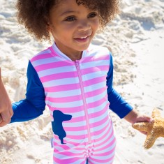 Baby sunsuit for girls in Dachshunds Pink