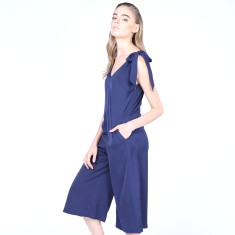 Love Bird Navy Silky Jumpsuits With Bow Tie Shoulder
