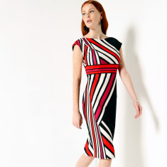 Bayliss boat-neck fitted striped crepe cap sleeve dress in bred white black print