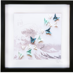 Hokusai wave framed art work