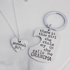 Grandma's girl necklace and keyring gift set