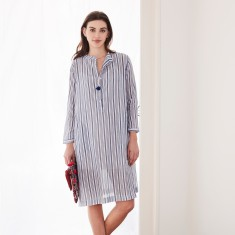 Shirt dress in navy stripe