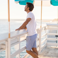 Braddock blue stripe men's sleep shorts