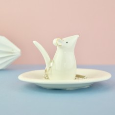 Mouse Ring Stand & Jewellery Dish In White