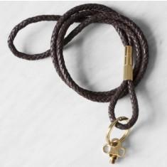 Keychain gold in dark brown