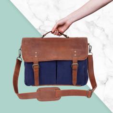 Leather Messenger Satchel Bag in Navy Blue Canvas