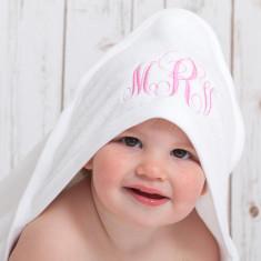 Monogram hooded baby towel
