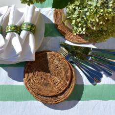 Green and white stripe table linen set