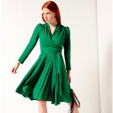 Clara Long Sleeve Flared A-Line Wrap Dress In Green Jacquard