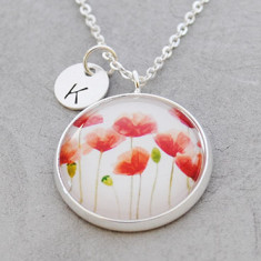 Personalised Red Poppies necklace in silver