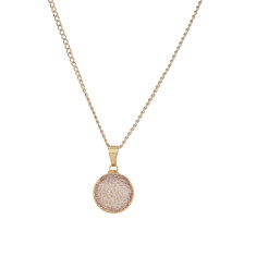Small Circle Natural Drusy Pendant Necklace