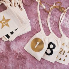 Set Of Modern Christmas Advent Calendar Bags