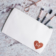 Personalised Couple's Heart Makeup Bag