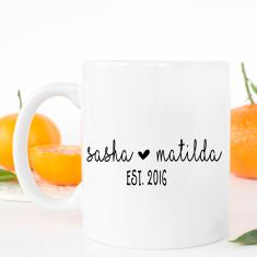 Valentine's Day - Personalised couple's name coffee mug