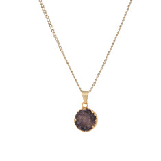 Small Circle Amethyst Drusy Pendant Necklace