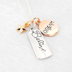 Dream and Believe Silver and Rose Gold Necklace