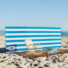 Beach windbreak in blue & white stripe