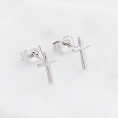 cross studs in silver
