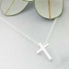 Kids cross necklace in sterling silver