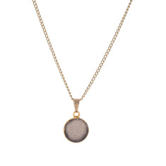 Small Circle Dark Grey Drusy Pendant Necklace