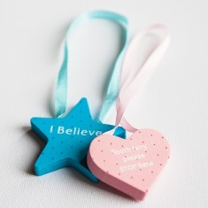 Tooth fairy reversible star or heart door hanger