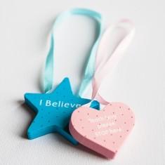Tooth fairy reversible star or heart door hanger