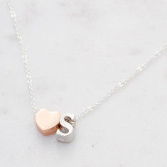 Personalised heart Initial necklace in rose gold and silver