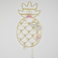 Personalised Pineapple Gold Wire Necklace Hanger & Hooks