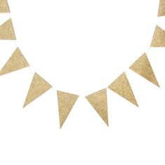 Vintage pennant mini banner in gold glitter