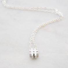 Hashtag necklace in silver