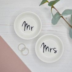 Mr & Mrs Wedding or Anniversary Porcelain Ring Dish