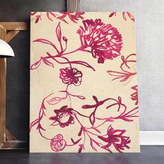 Pink Ink Floral Pattern Art Print