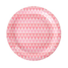 Pink geo paper plates (2 packs)