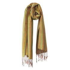 Multi-striped scarf in lime