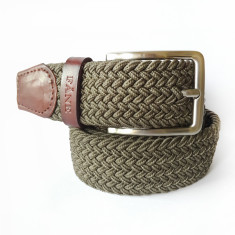 Woven elastic army green men's belt