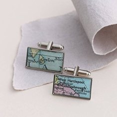 Personalised Rectangular Map Cufflinks