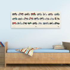 Classic motorcycles stretched canvas