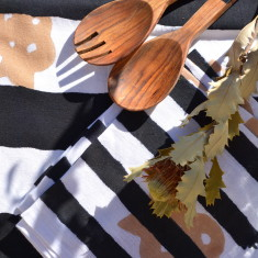 Black and white stripe table linen set