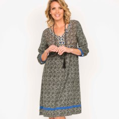 Louise dress in swirl charcoal