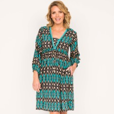Belle dress in aztec aqua