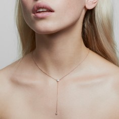Lariat crystal necklace in rose gold vermeil