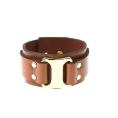 Buckle up cuff in saddle brown by Michelle Caley