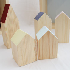 Wooden house block set