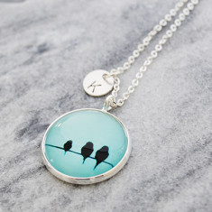 Personalised Birds on a wire necklace in silver