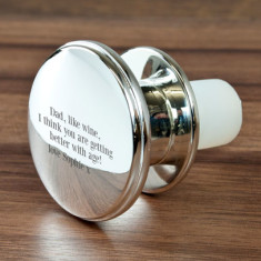 Silver Plated Bottle Stopper with Engraved Message