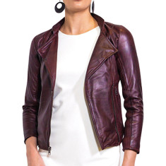 Oxblood red WB4 biker leather jacket