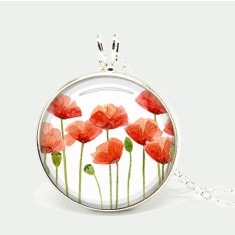 Vintage-style glass poppie silver or antique chain necklace