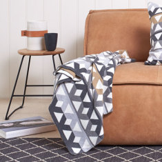 Pavilion cotton knitted geometric throw (3 colours available)