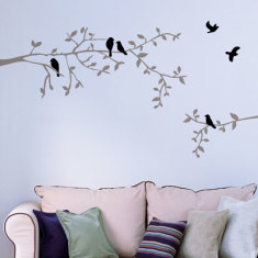 Branch and birds wall decal