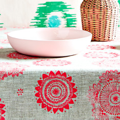 Messy posey linen tablecloth in neon pink